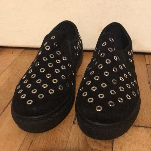 Missguided Shoes - Black silver studded slip on sneakers